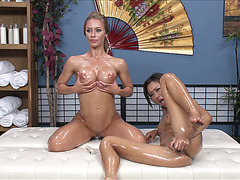 Sexy ladies Aline and Nicoles sex with their erotic toys
