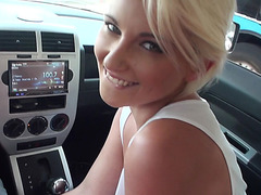 Stranded teen Dani Desire sex in the car