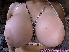 Babe Aletta Ocean with monstrous tits anal fucked in cave!