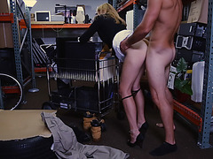 Hot MILF get tested at pawnshop by pawnshop owner so he fucks her
