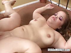 Midget Rebecca tries black cock