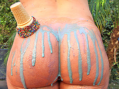 Krissy Lynn big ass covered with ice cream for a hot anal