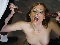 Allison Wyte sucking off big black cocks