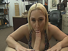 Big ass and busty babe gets her pussy pounded by pawn guy