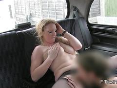 Blonde cheating girlfriend bangs in cab