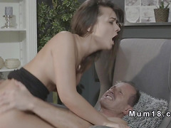 Shaved cunt mom sucks and fucks in armchair