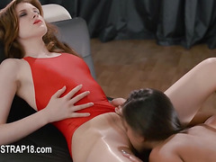 Huge vibrator in their hands trying first lesbians sex