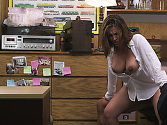 Busty blonde MILF gets pussy fucked in doggystyle by a huge monster cock