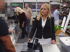 Hot office milf gets a taste of giant cock after she gets persuaded