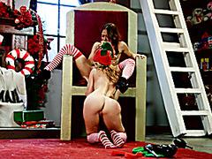 Christmas elves Sara and Sasha licking
