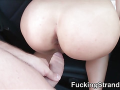 Huge boobs coed Kira Queen gets tricked and fucked outdoors