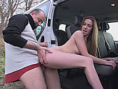 Two naughty BFFs road trip and threeway with horny stranger