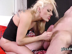 Fervid girl is geeting peed on and bursts wet pussy