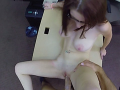 Big tits babe in glasses pawns her pussy