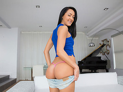Cutie Sabrina Banks facialed by big cock