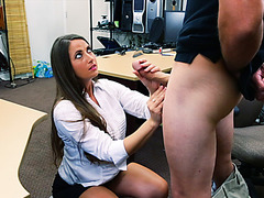 Naughty busty babe fucked hard for huge amount of cash in the pawnshop