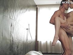 Tight Nataly Von fucked in shower room