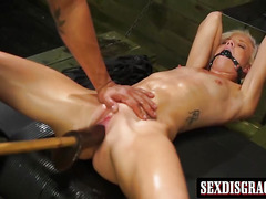 Cute blonde Halle Von gets her pusssy destroyed with dildo