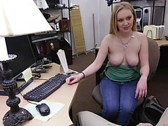 Hot amateur blonde gets fucked after selling her game console