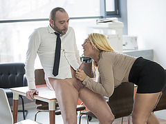 Horny Secretary Kyra Hot gets fuck at the office by her coworker