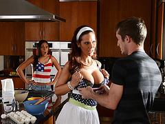 Horny stepmom Syren De Mer giving sex lessons to her stepdaughter