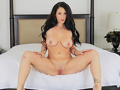 Hot brunette Noelle Easton plays with boyfriend and gets fucked