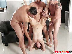 Three pervert guys fucked tight bitch Kinsley Eden one by one