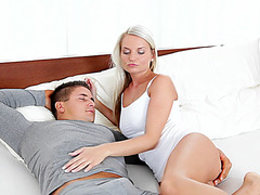 Hot sexy blonde gets tight pussy fucked with massive huge cock
