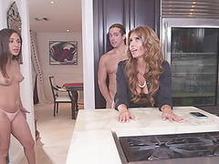 Bella and her stepmom enjoys wild next level sex at the kitchen