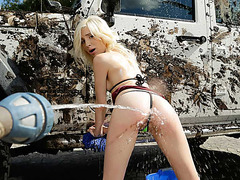 Hot teen Piper gets fucked by stepmum while having a carwash