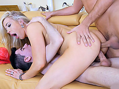 Mom double penetration fuck by her husband and a young cock