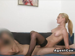 Waitress in stockings bangs in casting