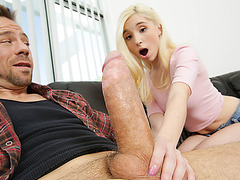 Hot and beautiful blonde next door gives a blowjob and gets bonded