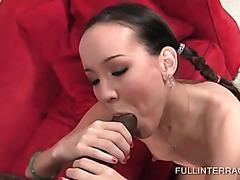 Little schoolgirl gets slutty with black dick