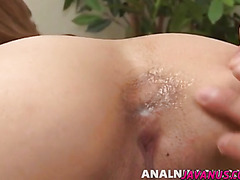 Reina Asian gal spreads her cheeks for hardcore anal
