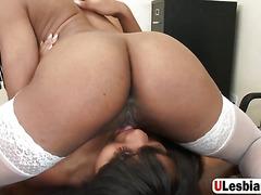 Stunning Ebony Babes In Hot Office Lesbian Sex