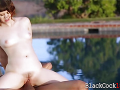 Cute asian gal Yhivi interracial sex with near the pool