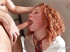 Curly schoolgirl sucks three large dildos at once