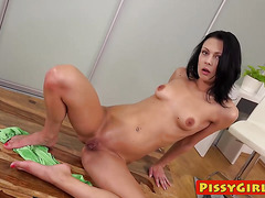 Gorgeous chick Kara sticks a big black dildo in her pussy
