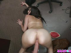 Brunette Alexis Deen at the Pawnshop Tries To Sell A Sword