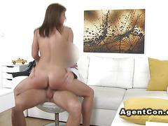 Hot brunette banging fake agent in office