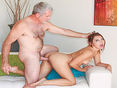 Old cock fucks Ariana Grands pussy doggystyle
