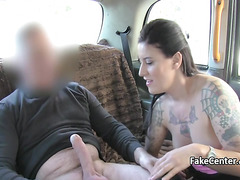 Brunette milf in fishnets fucked in taxi